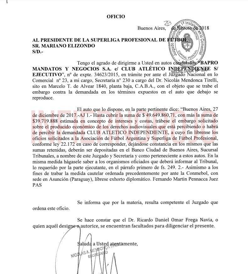 Reclamo del Banco Provincia por la situación con Independiente